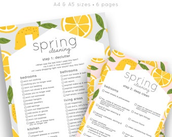 Spring Cleaning | Spring Cleaning Checklist | Printable Checklist | Room By Room | Organiser | Planner | Printable Download | Stationery