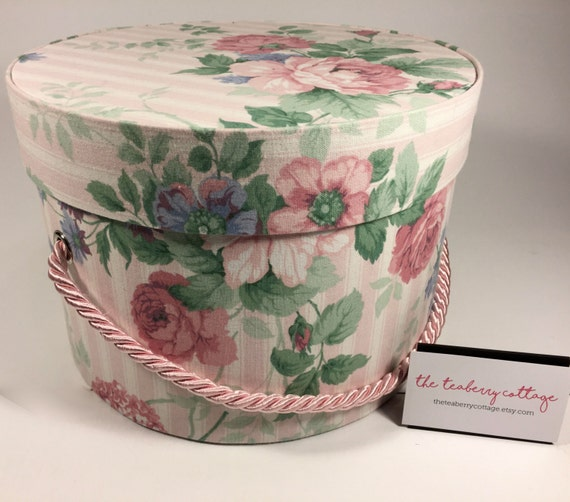 Round Decorative Boxes: Hat Box In Vintage Pink Stripe Ready To Ship Round Box