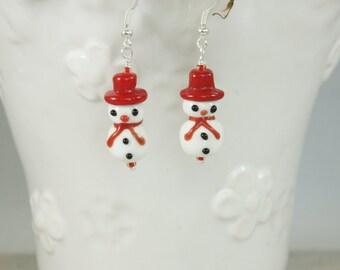 Snowman Lampwork Bead Earrings, Snowmen Earrings, Snowman Earrings, Lampwork earrings, Christmas Earrings, Holiday Earrings, Item #83