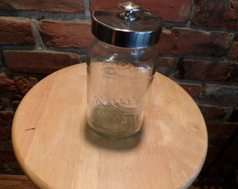 Clear Glass jar with lid, Nanny's Oven jar, Cookie Jar, Candy Jar