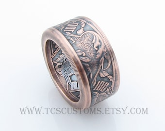 Ben Franklin 100 Dollar Bank Note Handcrafted 1oz .999 Pure Copper Coin Ring, Unique Ring, Coin Jewelry, Mens, Band, Rings