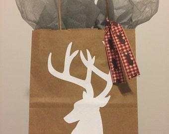 White Deer Embossed Brown Kraft Paper Gift Bag