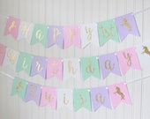 Gold, Pink, White, Mint, Purple Happy Birthday Unicorn Banner/ Girl Birthday/ Princess Party/ Fairy Birthday/ Custom Name/ Personalized