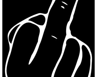 New Black Sticker Decal The Finger Rude Offensive Punk Goth Emo Metal Skater Alternative