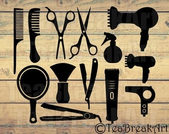 Hairdresser's accessories Cutting Files SVG PNG EPS ClipArt Instant Download iron on heat transfer shirt decal barber svg 482C