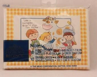 Vintage Friends Notes by Regency. 10 Notes & Envelopes. Blank Inside