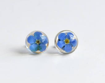 forget me not delicate blue earrings in sterling silver, romantic and symbolic gift for her, birthday, graduation, flower jewelry