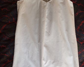 Vintage French Chemise Slip Petticoat Pure White Cotton Small For clothing sewing costume collection