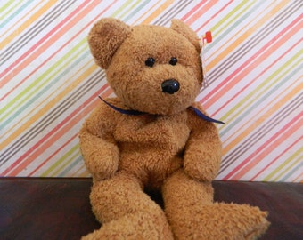 """TY Brown Bear Beanie Baby """"Fuzz"""" (B)"""