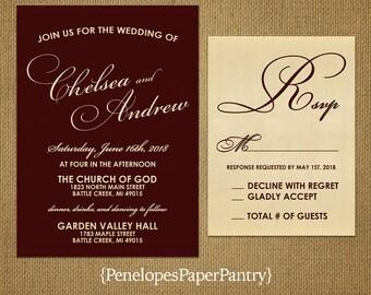 Romantic Burgundy Wedding Invitation,Burgundy,Gold,Burgundy and Gold,Calligraphy,Shimmery,Elegant,Custom,Printed Invitation,Wedding Set