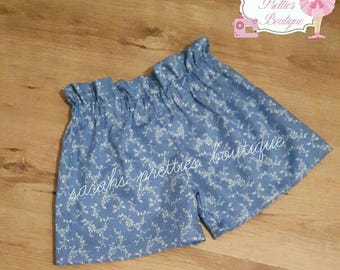 Girls blue floral ruffle shorts age 6