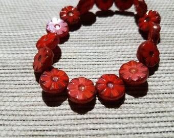 Czech Glass Flower Picasso Beads - Fabulous Sunset Orange