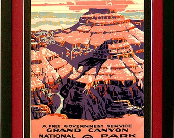 Grand Canyon National Park Poster WPA Custom Framed A+ Quality