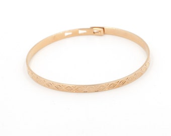 Geometric Bangle Bracelet Gold Fill - Stacking Bangles - Geometrical design bangles