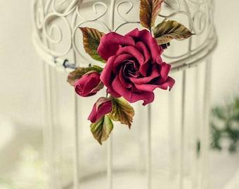 Wine flower hair pin Burgundy rose hair clip  Bridal hair flower Bohemian Rustic wedding Red rose  brooch