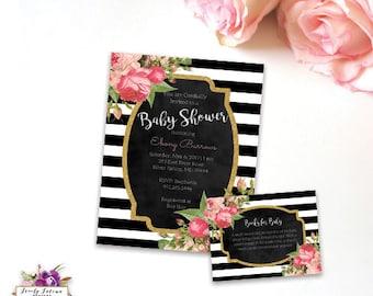 Black and White Stripe - Kate Spade Inspired - Pink Floral Baby Shower Invitation - Printable Invitation - Digital Invitation - BEST SELLER