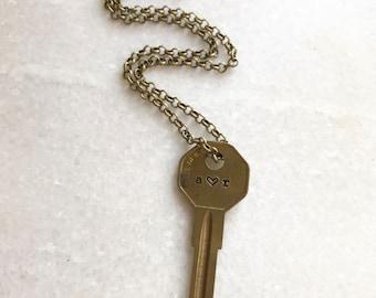 Key Necklace, Hand Stamped Key, Key Jewelry, Encouragement Jewlery, Engraved Key Necklace, Key Necklace, Vintage Repurposed Key, word