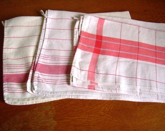 Linen and cotton french Vintage 60's / linen dish towel, tea towel, set of 3