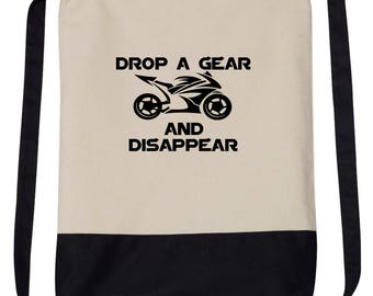 DROP A Gear and Disappear Bike Car Drawstring Backpack Bag ***Free Shipping ***