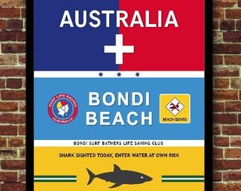Sydney Surf Australia Art Print Poster Vintage Travel Decoration