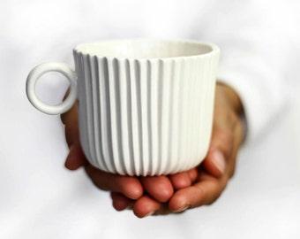 Porcelain Geometric White Mug. Handmade Ceramic Cup.Minimalist Tea Coffee mug.Contemporary Wedding Mug Design by CONCEPTstudio. READY TOSHIP