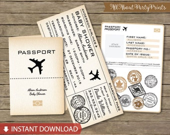 Paris Boarding Pass Invitation DIY EDITABLE Birthday Party