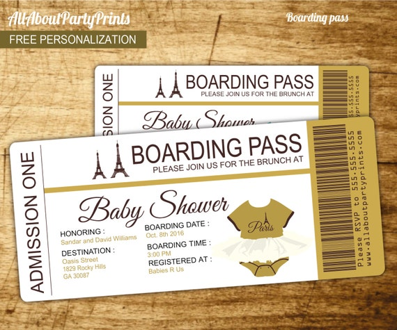 Paris Baby Shower Passport And Boarding Pass Invitation-Invitation Printable- JPEG Format