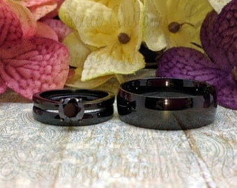 All black 3 piece wedding set, Black IP Plated 316L, Blackout wedding rings, Black Spinel engagement ring, Free inside engraving!