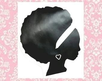 Natural Hair, Black Girl Magic, Black Girls Rock, Afro Decal