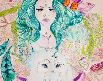 Mother Nature, mother nature print , mixed media , fantasy , wolf , wall decor , wall art , print ,floral , nature