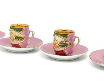 Antique Victorian Pink and Gold Lusterware Demitasse Cups, Set of 4