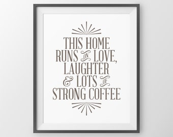 Christmas Decor Wall Art Print This Home Runs on Love Laughter & Lots of Strong Coffee Quote Inspirational Wall Decor Print Family Quote