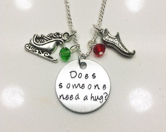 Does Someone Need a Hug? Will Ferrell Buddy the Elf Christmas Inspired Stamped Charm Necklace