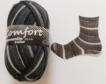 sock yarn 100g (6,-Euro/100g), grey with white, 4ply (117.01)