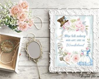 Digital Alice in Wonderland - She fell asleep and got lost in wonderland Wall Print - Nursery,Bedroom,Wall Art