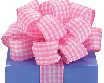 "1.5"" x 20yds Pink & White Gingham Ribbon/Wired Edge/Wreath Supplies/Spring Ribbon/9710315"