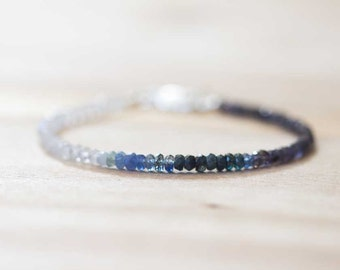Rainbow Moonstone, Iolite & Sapphire Bracelet, Delicate Shaded Blue Sapphire Jewelry, Sterling Silver Rose Gold Fill Moonstone Bracelet