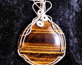 Tiger's Eye Necklace, Tiger's Eye Pendant, Handmade Tiger's Eye Pendant, Wire Wrapped Tiger's Eye, Wire Wrapped Necklace