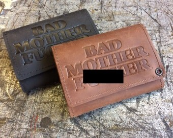 Mature, Bad Mother F*cker Mens Basic Trifold Wallet, Genuine Leather, Mens Wallet, Durable Wallet, Made in USA