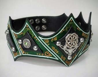 Green Leather Crown Headpiece | LARP Cosplay Warrior Green Celtic Headpiece Medieval Leather Crown Renaissance Leather King Crown