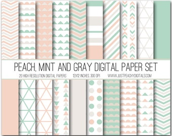peach, mint and gray modern digital scrapbook paper with geometric patterns