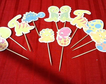 Baby DINOSAUR  Cake Toppers...baby dinosaur  Cupcake Toppers Set of 12... Choice of one side or two sided pick