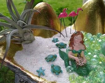 Mermaid with Turtle-  Miniature Undersea Terrarium figurine  Mini Beach Ocean fairy dish garden supplies accessories