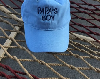 Papa's Boy - Light Blue Hat With Blue Lettering
