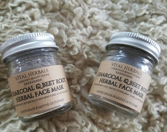 Charcoal and beetroot herbal face mask