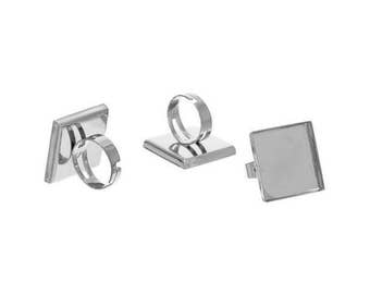 10 Cabochon square 25mm silver Platinum Rings