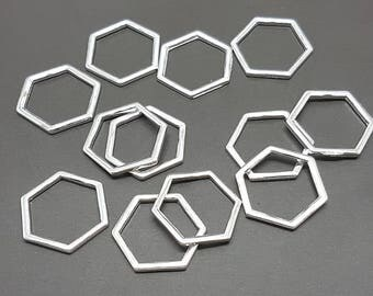 30 silver 17x15mm - 30 hexagon hexagon charms pendants pendants charms 17x15mm silver plated color