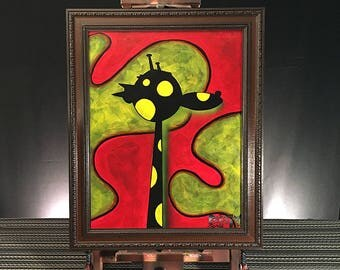 Solo Giraffe Black Right, Abstract Acrylic Painting on Canvas, 16 in x 20 in, Unique