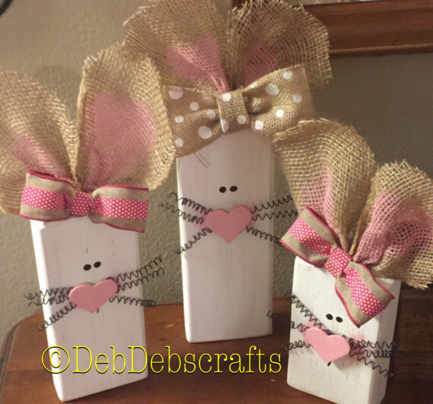 Easter Block Set Wood Easter Decor Spring Decorations Holiday Wood Sign 2x4 Bunny Block Set Wooden