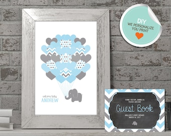 Elephant Baby Shower Guest Book, Elephant Guest Book, Blue, Gray, Chevron (Matches Chalkboard, Hearts) | DIY